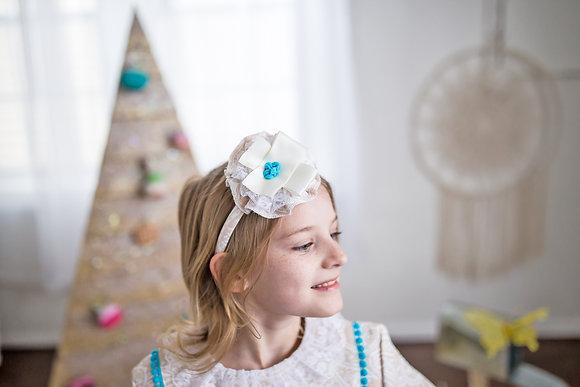 Creme Blue Rococo Lolita Bow Headpiece