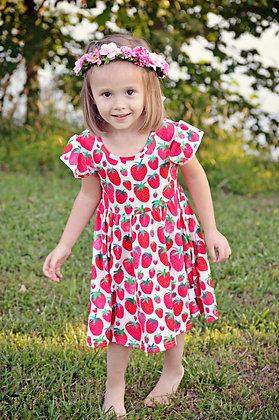 Strawberry Flutter Sleeved Girls Dress