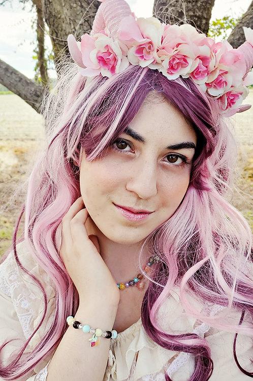 Reversible Fantasy Ram Horn Pink Sakura Headpiece