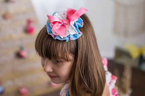 Blue Hot Pink Lolita Bow Headpiece