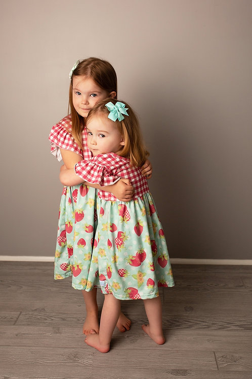 Strawberry Picnic Girls Spring and Summer Dress