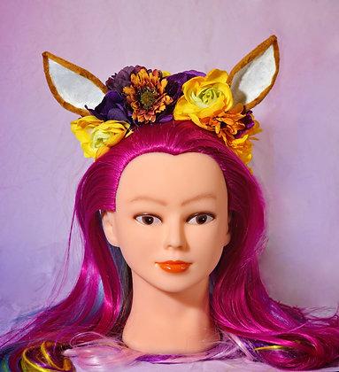 Purple & Yellow Fantasy Floral Fawn Deer Headpiece