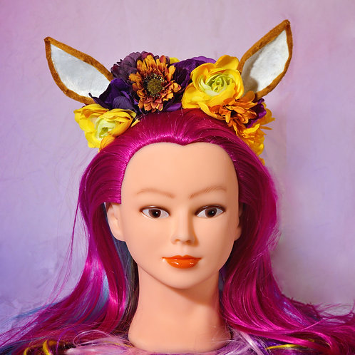 Purple & Yellow Fantasy Floral Fawn Deer Headpiece