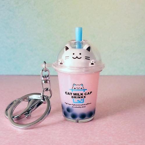 Kawaii Cat Boba Tea Keychains