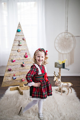 Christmas Holiday Red Lace Plaid Bow Girls Dress