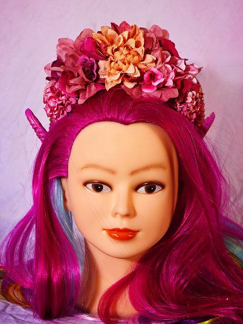 Magenta Themed Fantasy Floral Ramhorn Headpiece