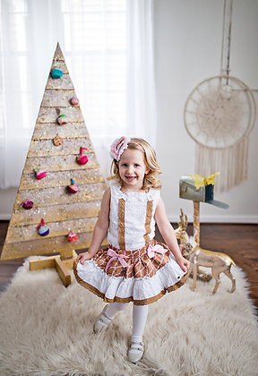 Gingerbread White Sleeveless Brown Lace Pink Bow Girls Dress