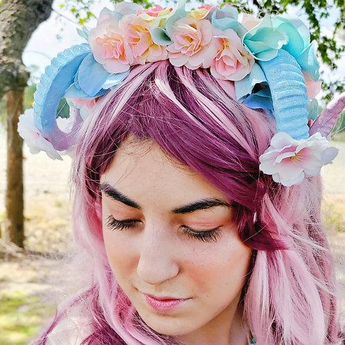 Reversible Fantasy Ram Horn Blue Pink Sakura Headpiece