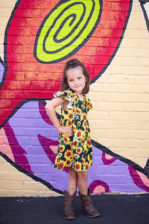 Sunflower Flutter Sleeve Girls Dress