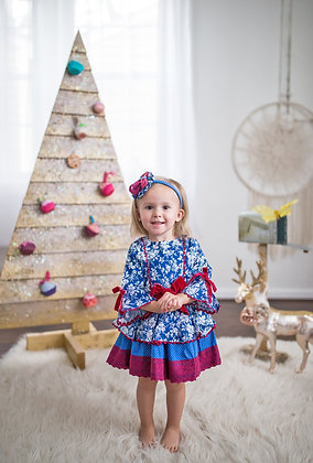 Blue Red Lace Colonial Flared Girls Dress