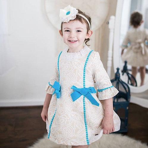 Rococo Jacquard Creme Blue Bow Girls Dress