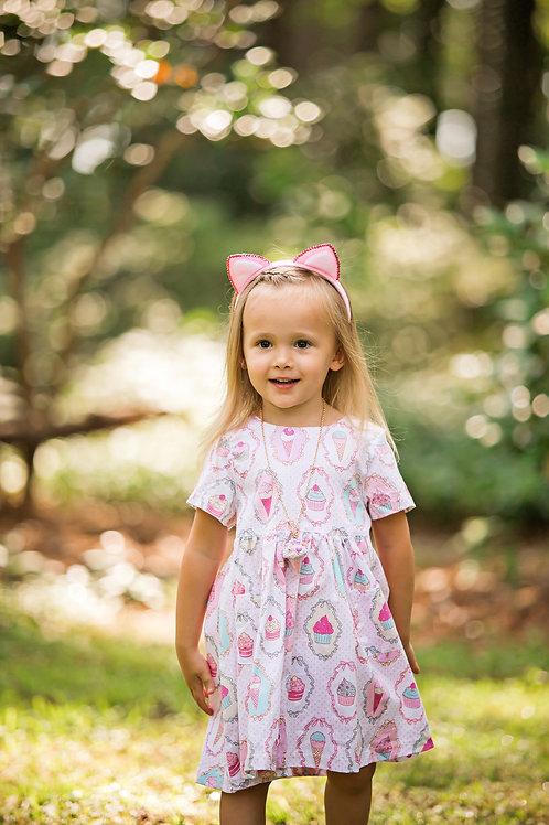 Cute Cupcake Ice Cream Girls Short Sleeve Dress