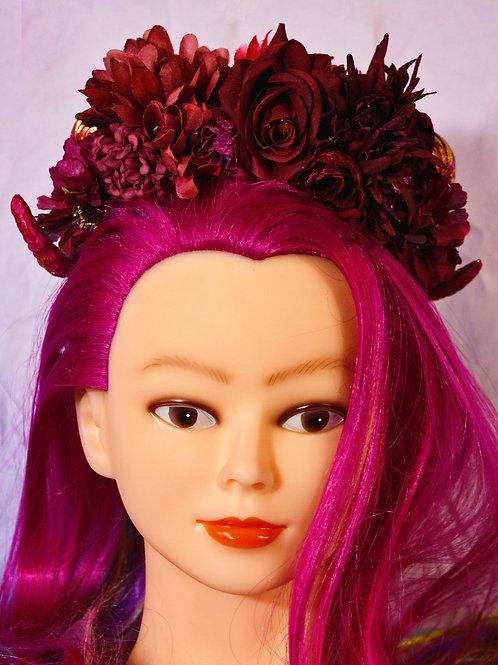 Burgundy Fantasy Floral Ramhorn Headpiece