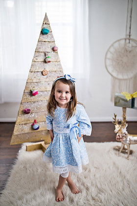 Blue Lace Bow Winter Jacquard Vintage Boutique Girls Dress