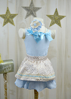 Blue Cute Bow Dot Golden Lace Sleeveless Girls Dress