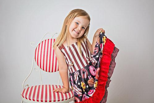 Sleeveless Striped Red Cupcake Dessert Dress