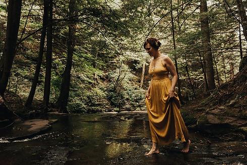 Catskills Mountain NY Wedding at Hemlock Falls Camping: Bride Crossing the Stream