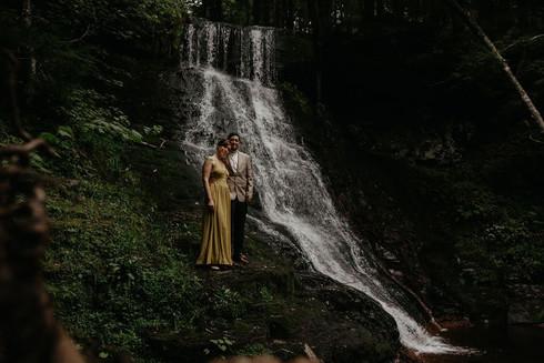 Catskills Mountain NY Wedding at Hemlock Falls Camping: Waterfall