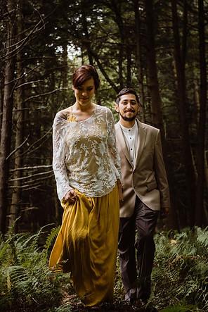 Catskills Mountain NY Wedding at Hemlock Falls Camping: Walks in the Forest