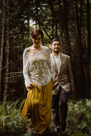 Catskills Mountain NY Wedding at Hemlock Falls Camping: Walks in the Forest