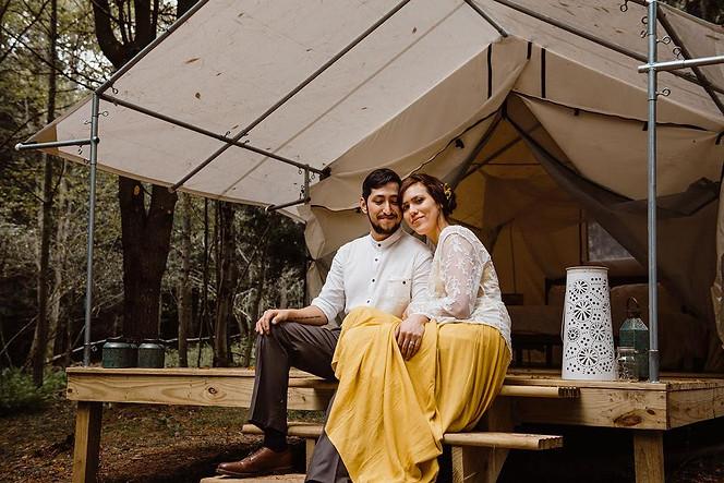 Catskills Mountain NY Wedding at Hemlock Falls Camping: Bride & Groom at The Glen Site