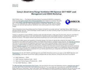 Carey's is proud to be sponsoring the 2017 NSSF Lead Management and OSHA Workshop.  Also, Carey&