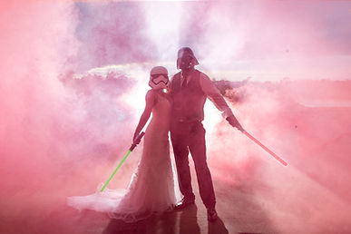 A Star Wars themed bride & groom