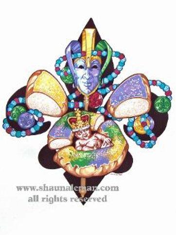 Mardi Gras King Cake Fleur de Lis