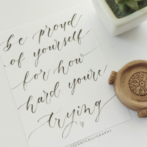 Calligraphy quote postcard
