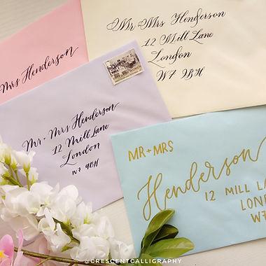pastel wedding calligraphy envelopes