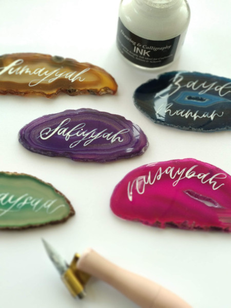 Personalised Agate Placecards