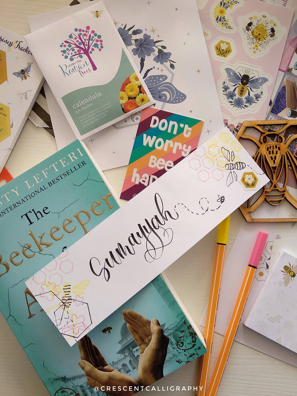 bee themed handlettered bookmark