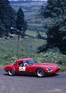 Red E-type at Shelsley