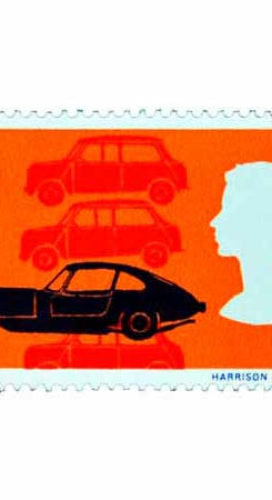 Mini car postage stamp from the 1960s