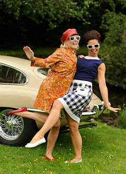 60s fashion and classic car