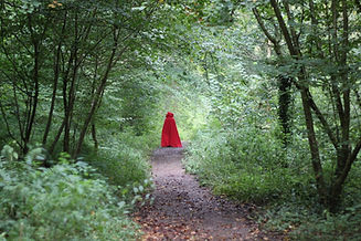Red riding hood in Ebor Gorge, Somerset filming The Thought Dancer