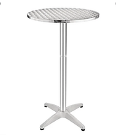 Bolero Poseur Table 600mm  Aluminium Frame. Stainless Steel Top. 1050(H) x 600(Ø)mm