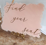 Acrylic Find Your Seat Sign - Painted Back Blush Pink