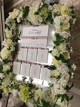 Floral Mirror Table Plan Ivory & Green Foliage
