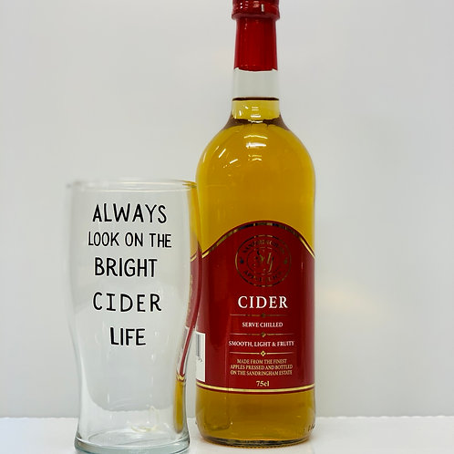 Sandringham Apple Cider and Personalised Glass Gift Set
