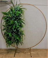 Gold Round Metal Mesh Wedding Arch Frame Moongate -200cm