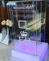 A modern looking take on the classic wedding post box. Comes with a light up base that can be set to any static colour or colour fade.