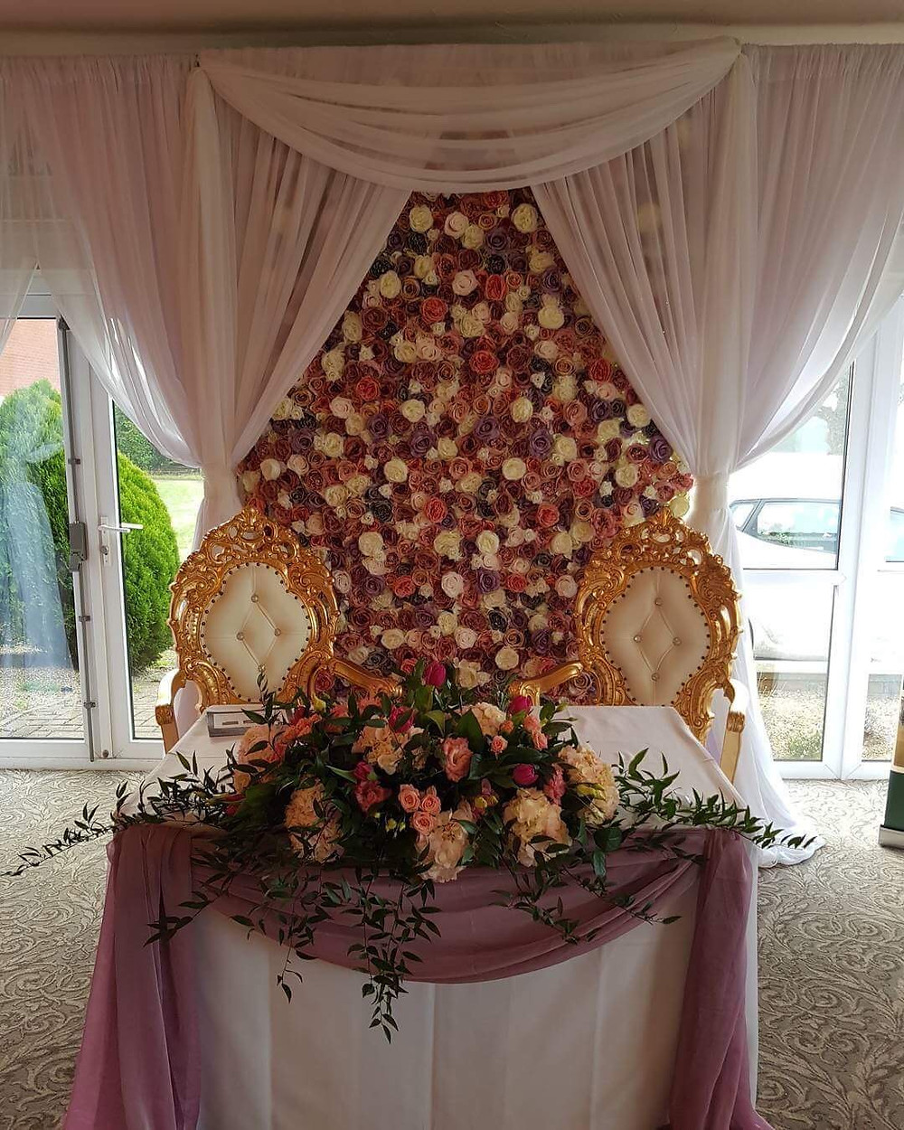 Flower Wall with Draping