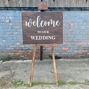 """Rustic """"Welcome To Our Wedding"""" Sign in Dark Wood"""