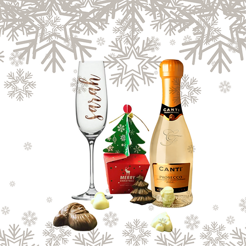 Prosecco and Chocolates With Personalised Glass Gift Set