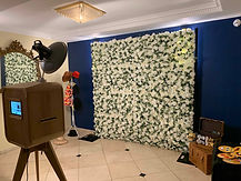 Photo booth and flower wall