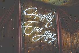 """Neon """"Happily Ever After"""" Sign in Cool White"""