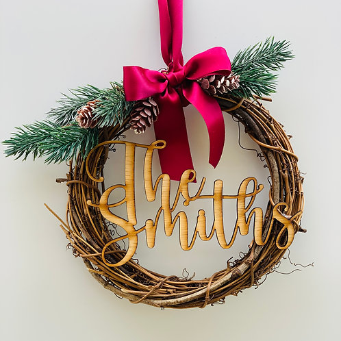 Personalised Christmas Wreath Topper