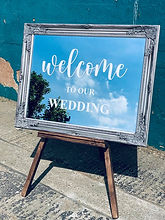 Welcome To Our Wedding Mirror Sign in Silver