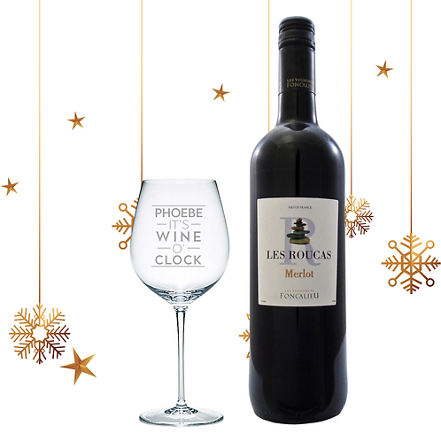 Merlot Wine and Personalised Glass Gift Set